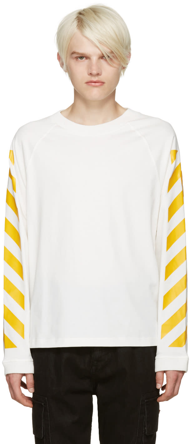 Moncler O White Striped Sleeves T-shirt