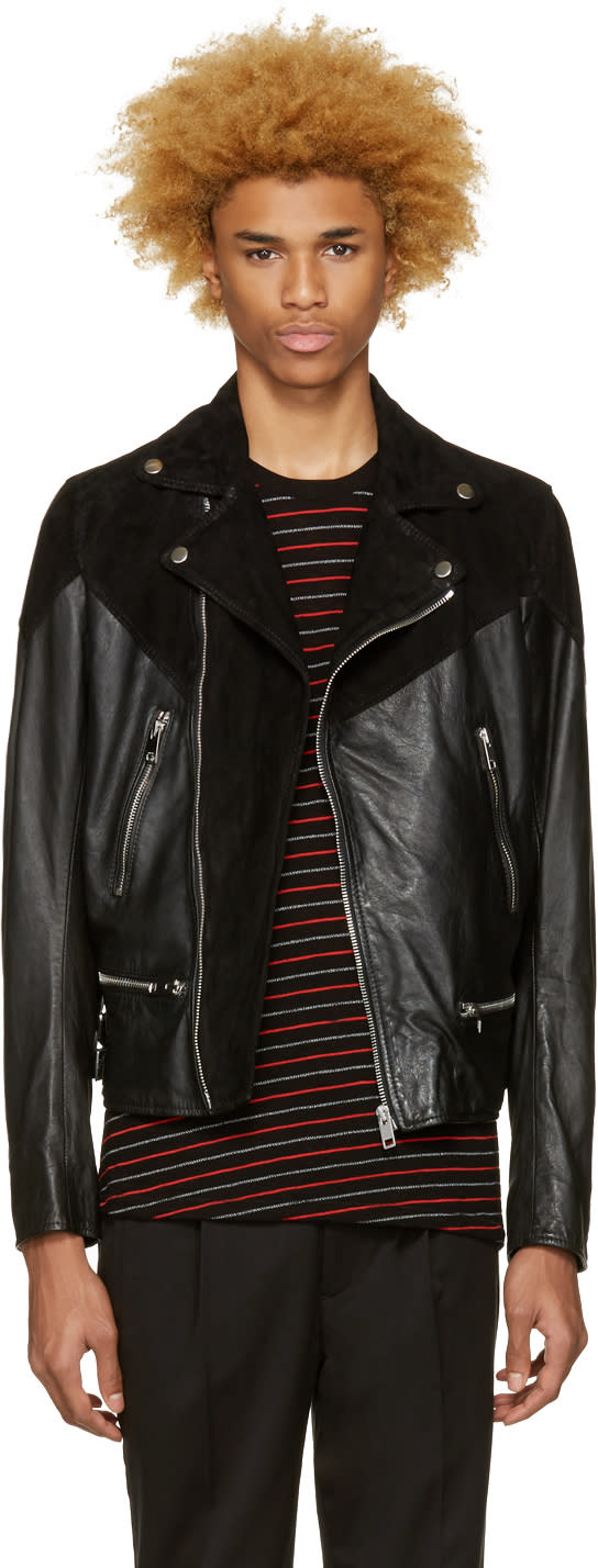Diesel Black Leather L-bort Jacket