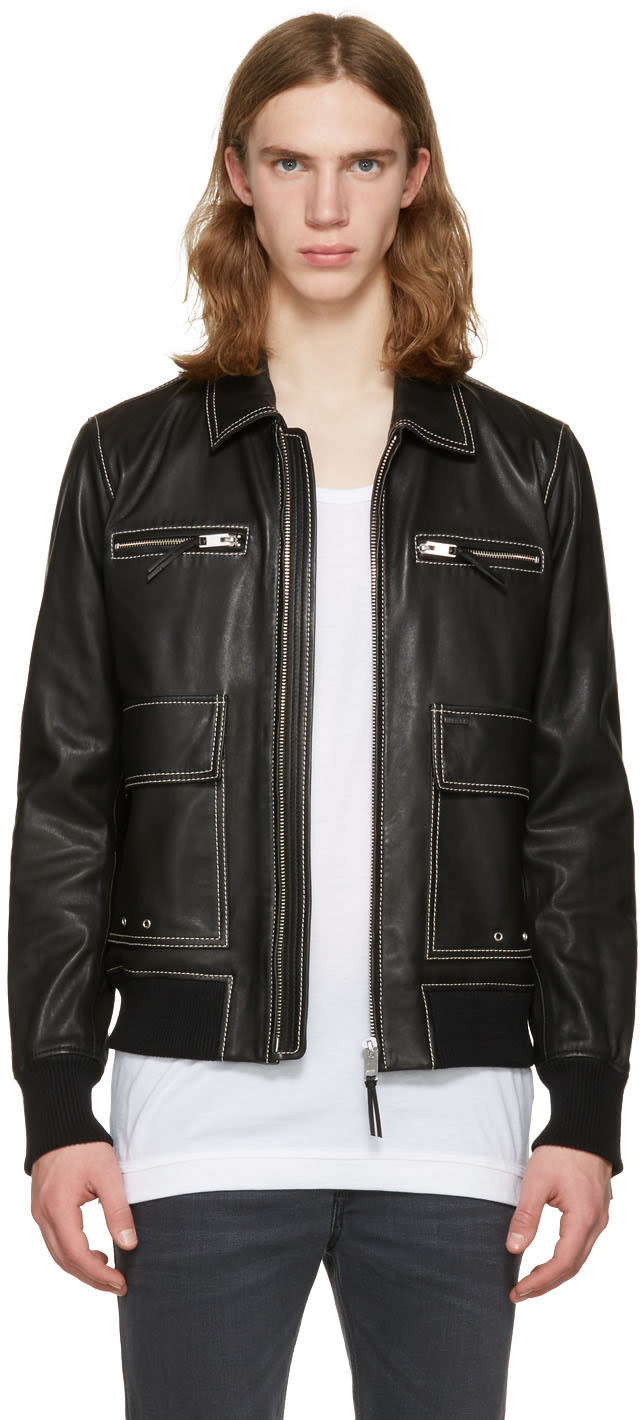Diesel Black Leather L-boom Jacket
