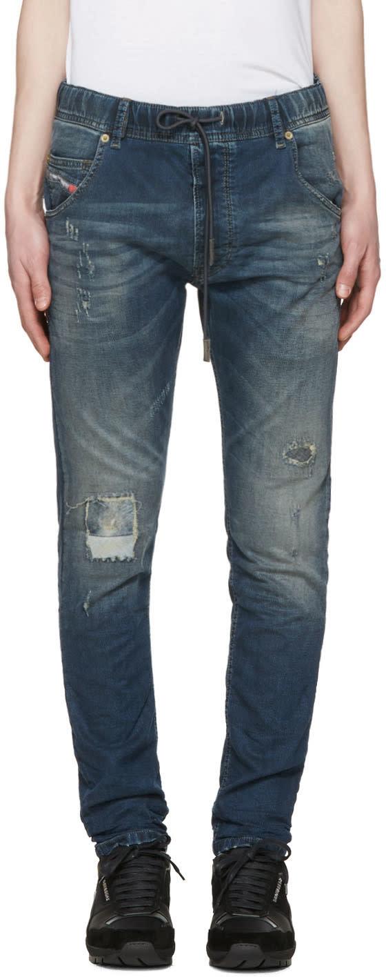 Diesel Blue Krooley-ne Patch Jogg Jeans