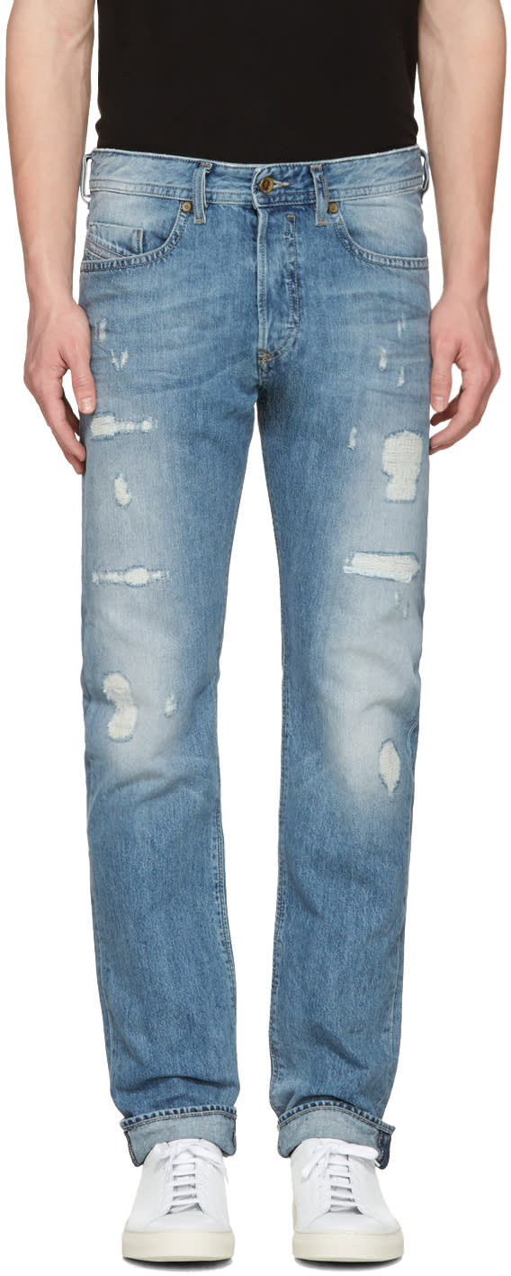 Diesel Blue Destroyed Buster Jeans