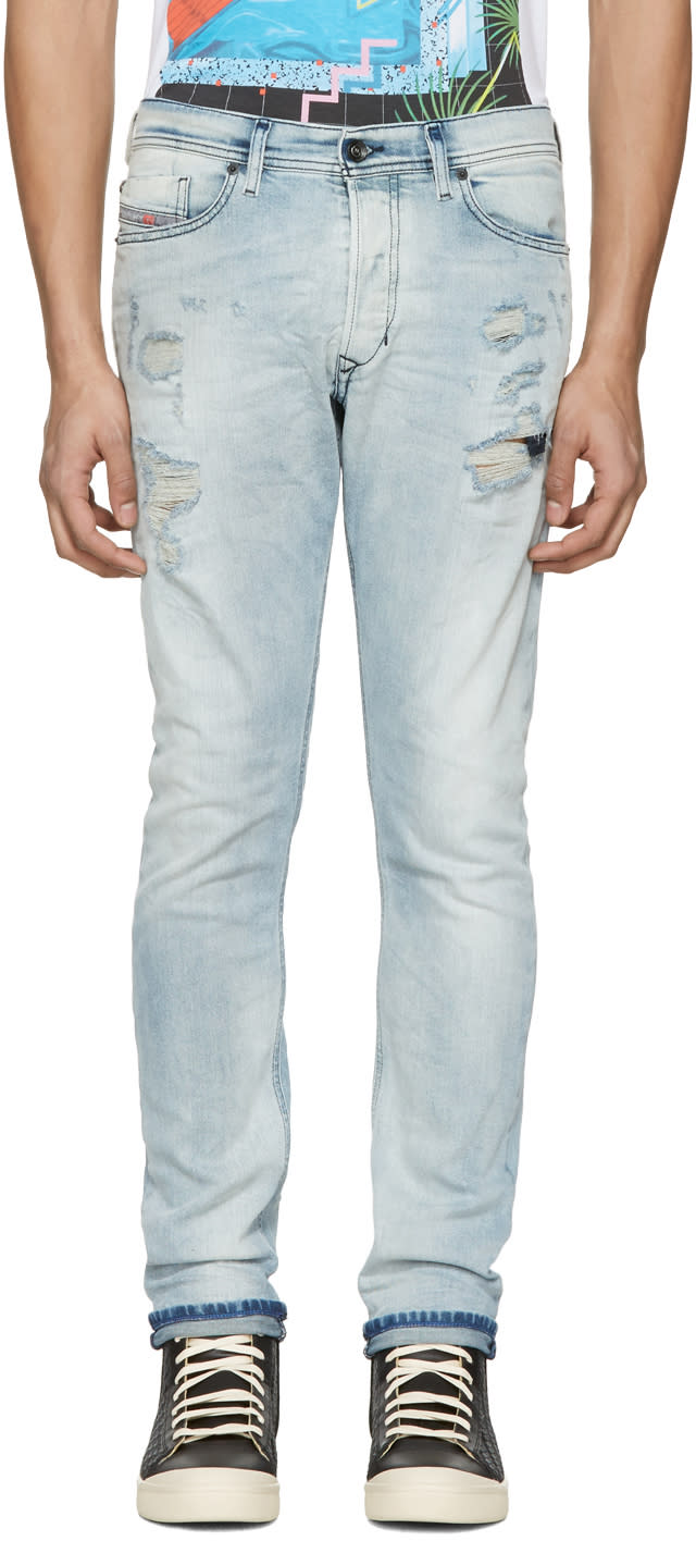 Diesel Blue Destroyed Tepphar Jeans