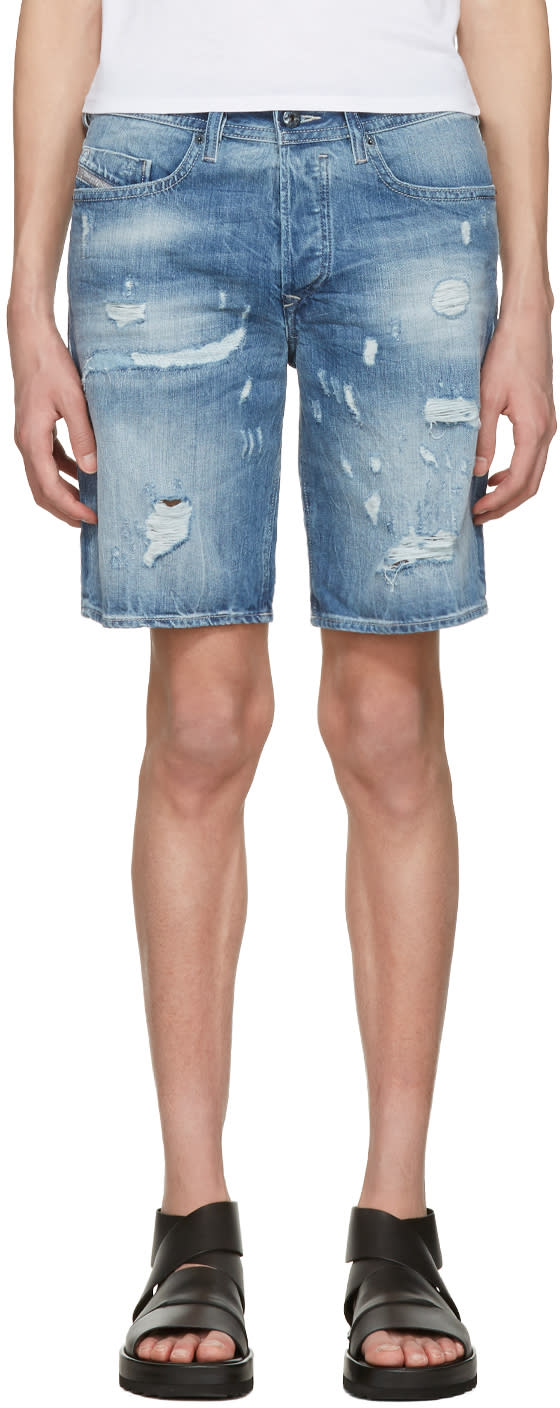 Diesel Blue Denim Bust Shorts