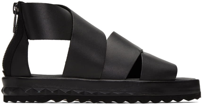 Diesel Black D-studz Cross Sandals