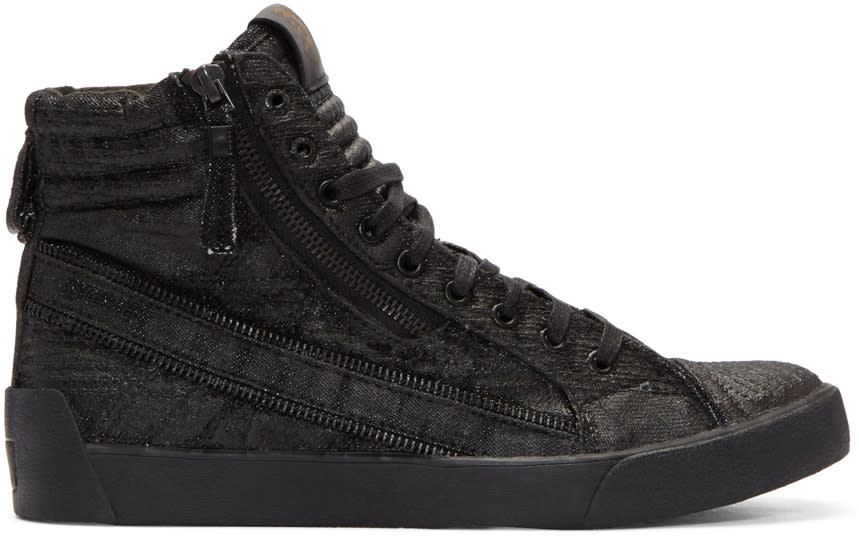 Diesel Black D-string Plus High-top Sneakers