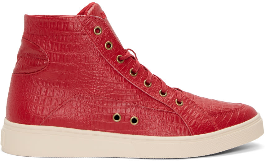 Diesel Red Croc-embossed S-groove High-top Sneakers