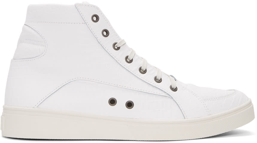 Diesel White Croc-embossed S-groove High-top Sneakers