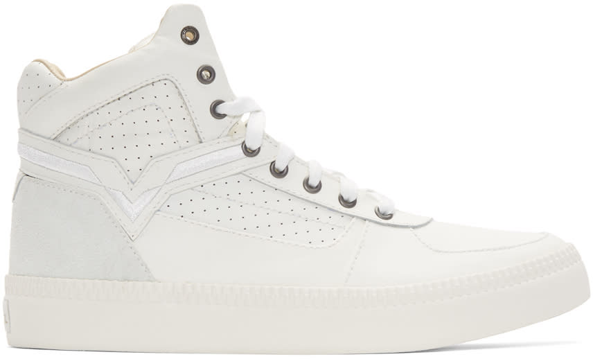 Diesel White S-spaark Mid-top Sneakers