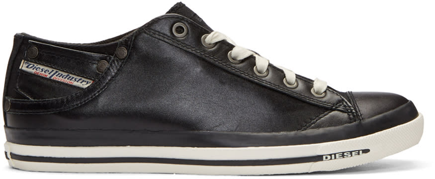 Diesel Black Leather Exposure Sneakers