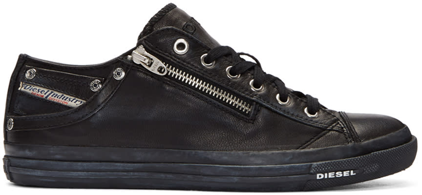 Diesel Black Leather Expo-zip Sneakers