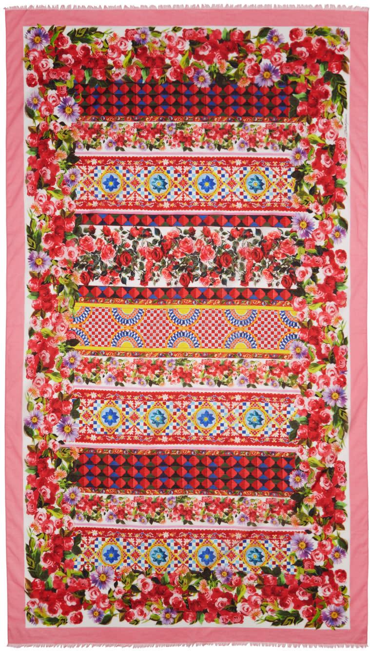 Dolce and Gabbana Pink Maiolica Scarf
