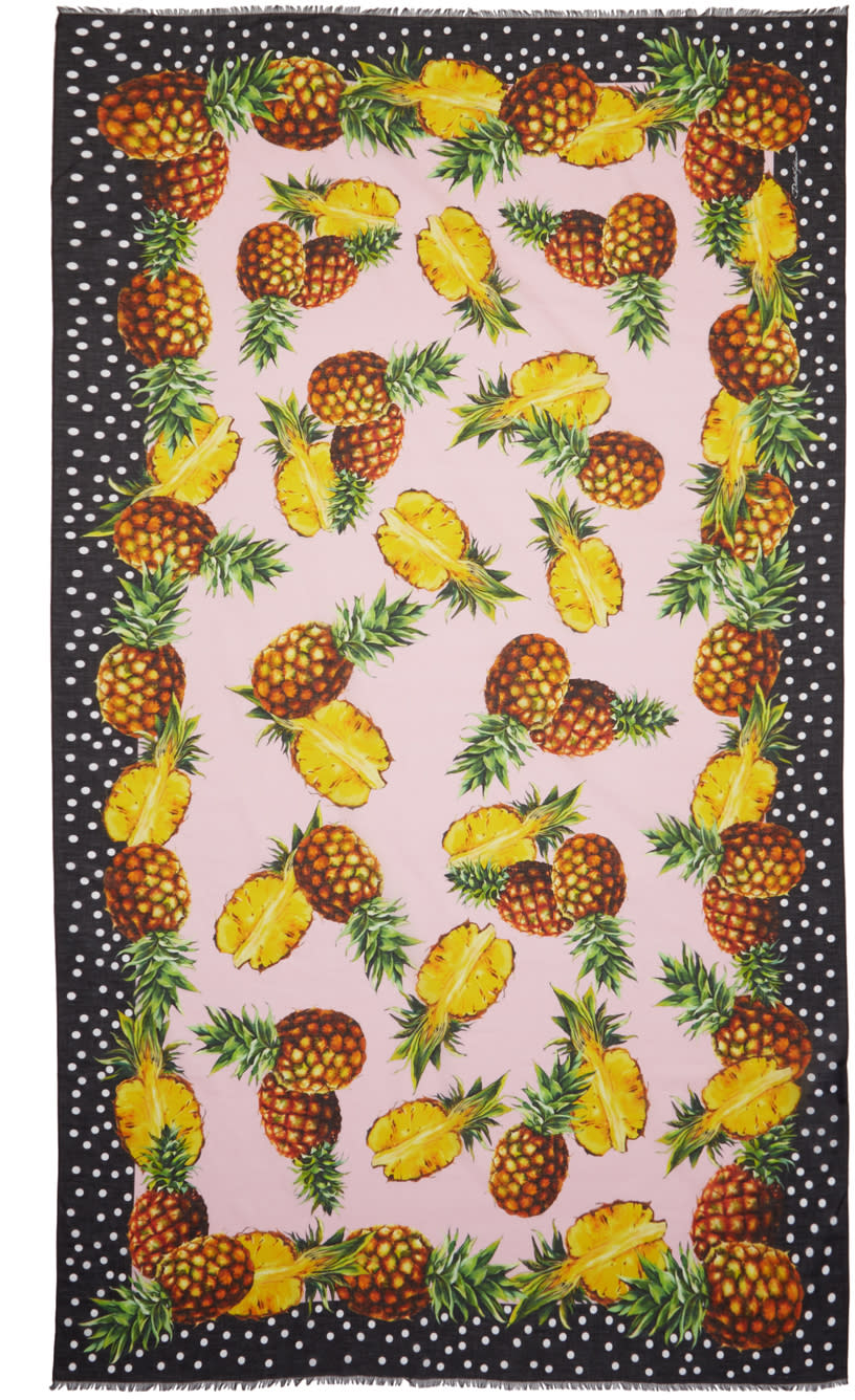 Dolce and Gabbana Pink Pineapple Scarf