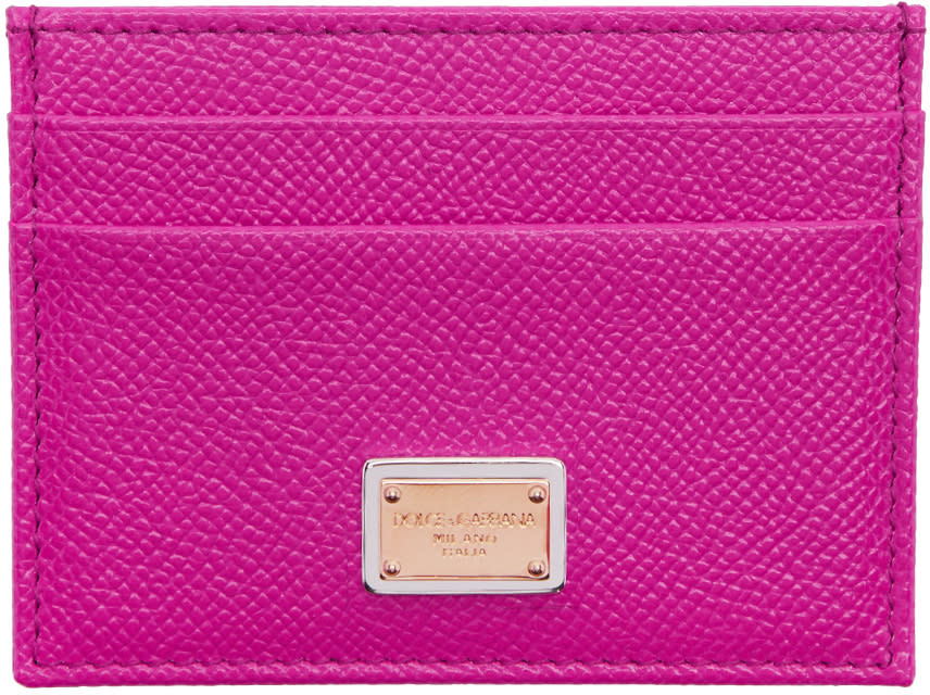 Dolce and Gabbana Pink Leather Card Holder
