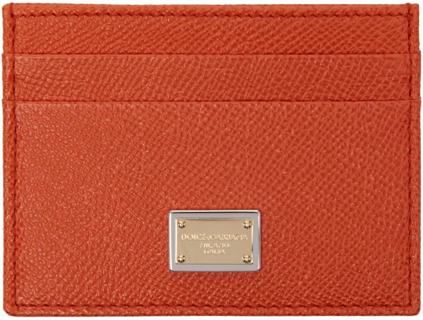Dolce and Gabbana Orange Leather Card Holder