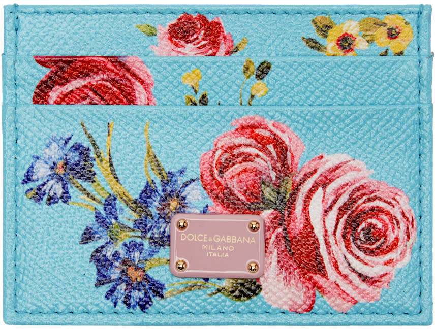 Dolce and Gabbana Blue Floral Card Holder