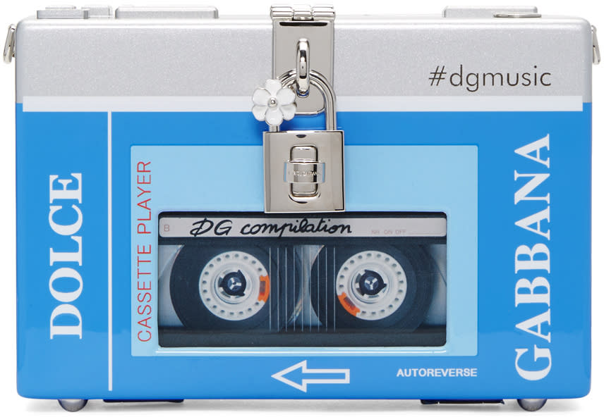 Dolce and Gabbana Blue and Silver Walkman Box Clutch