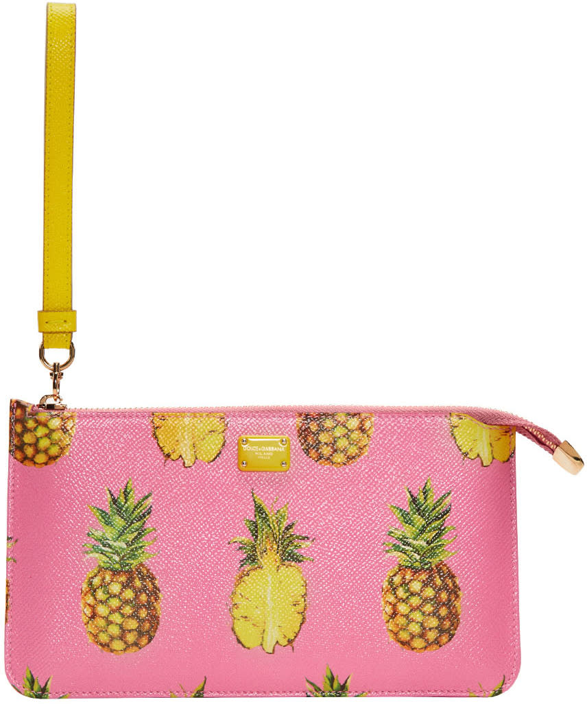 Dolce and Gabbana Pink Pineapple Pouch