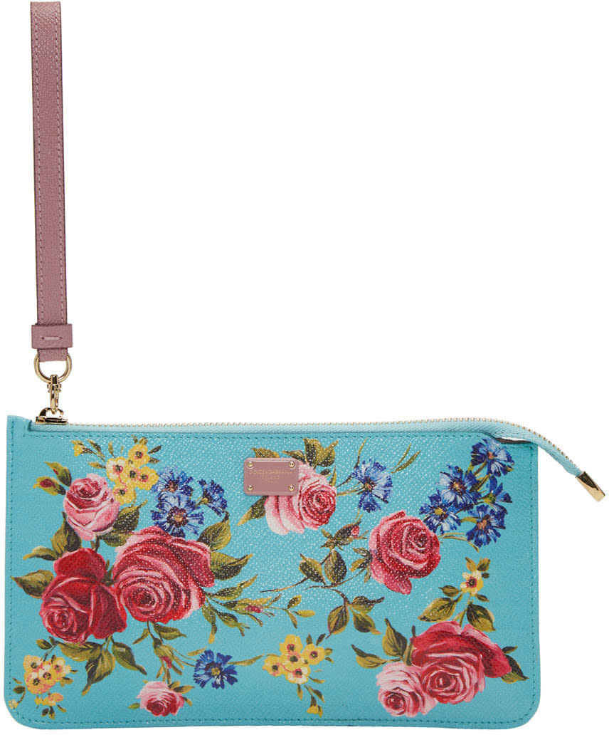 Dolce and Gabbana Blue Small Rose Zip Pouch