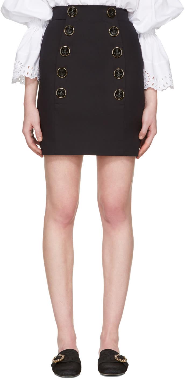 Dolce and Gabbana Navy Buttoned Miniskirt
