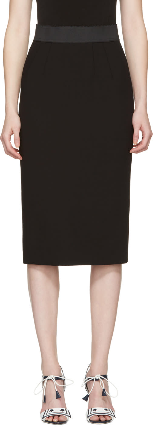 Dolce and Gabbana Black Wool Pencil Skirt