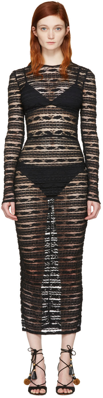 Dolce and Gabbana Black Stretch Lace Dress