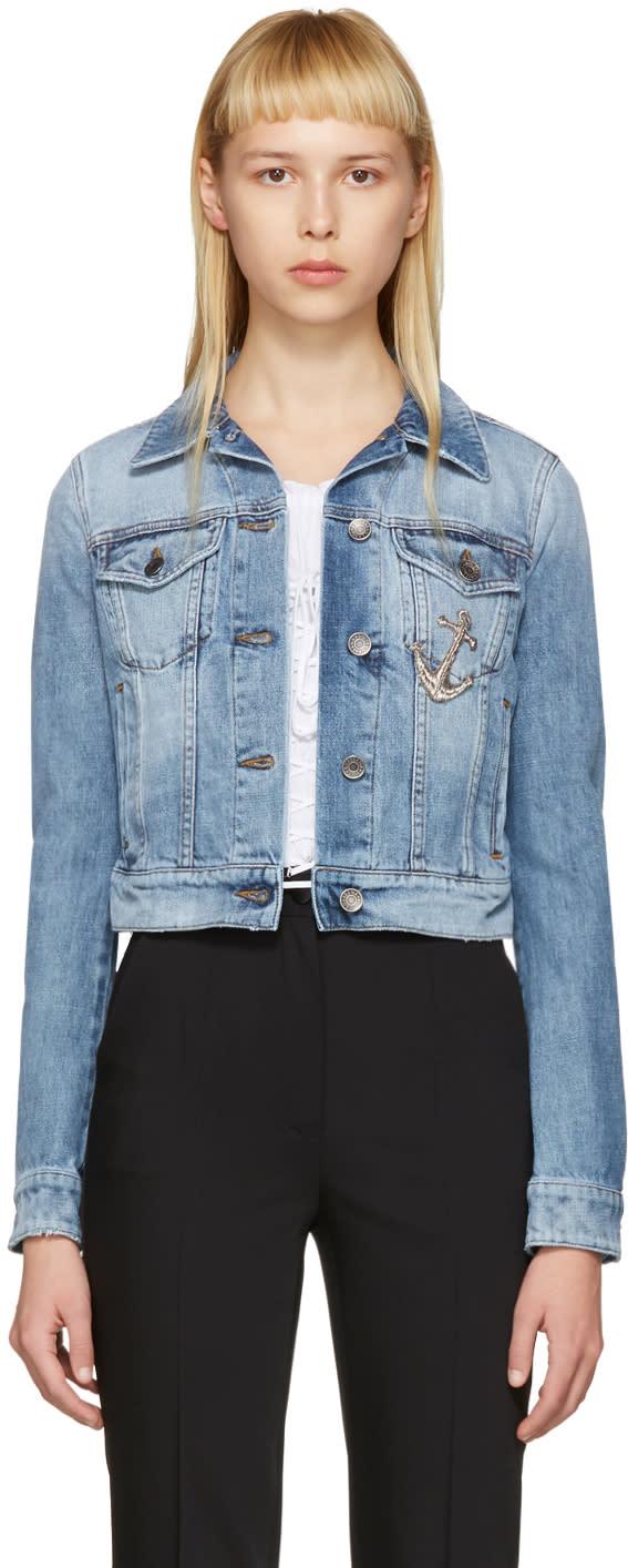 Dolce and Gabbana Blue Denim Anchor Jacket
