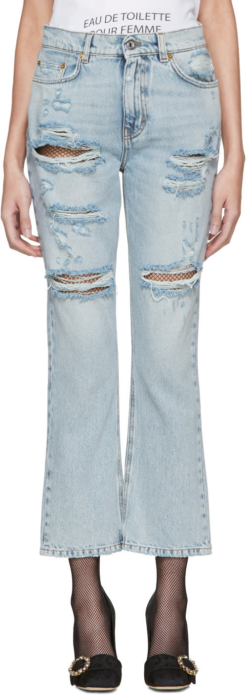 Dolce and Gabbana Blue Embroidered Jeans