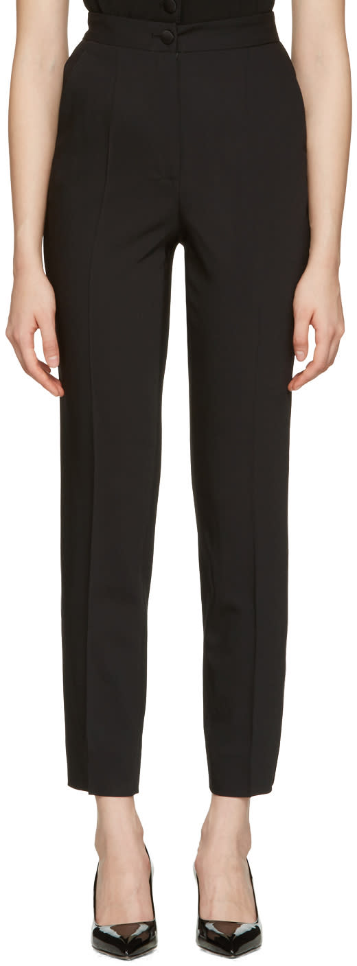 Dolce and Gabbana Black Crepe Wool Trousers
