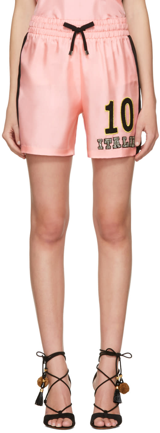 Dolce and Gabbana Pink Embroidered Pyjama Shorts