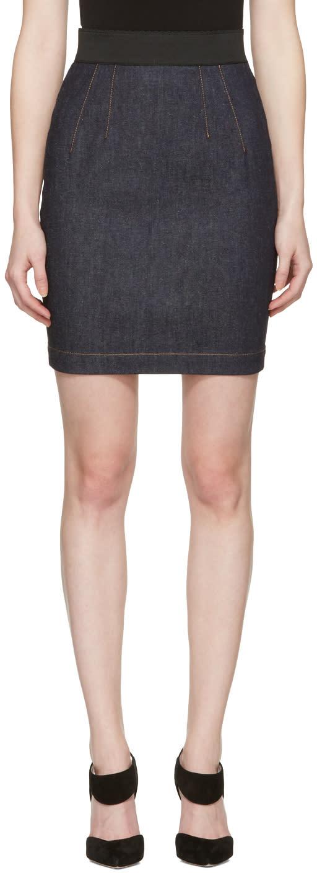 Dolce and Gabbana Navy Denim Miniskirt