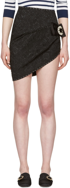 Dolce and Gabbana Black Brocade Miniskirt
