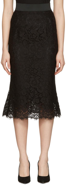 Dolce and Gabbana Black Macrame Pencil Skirt