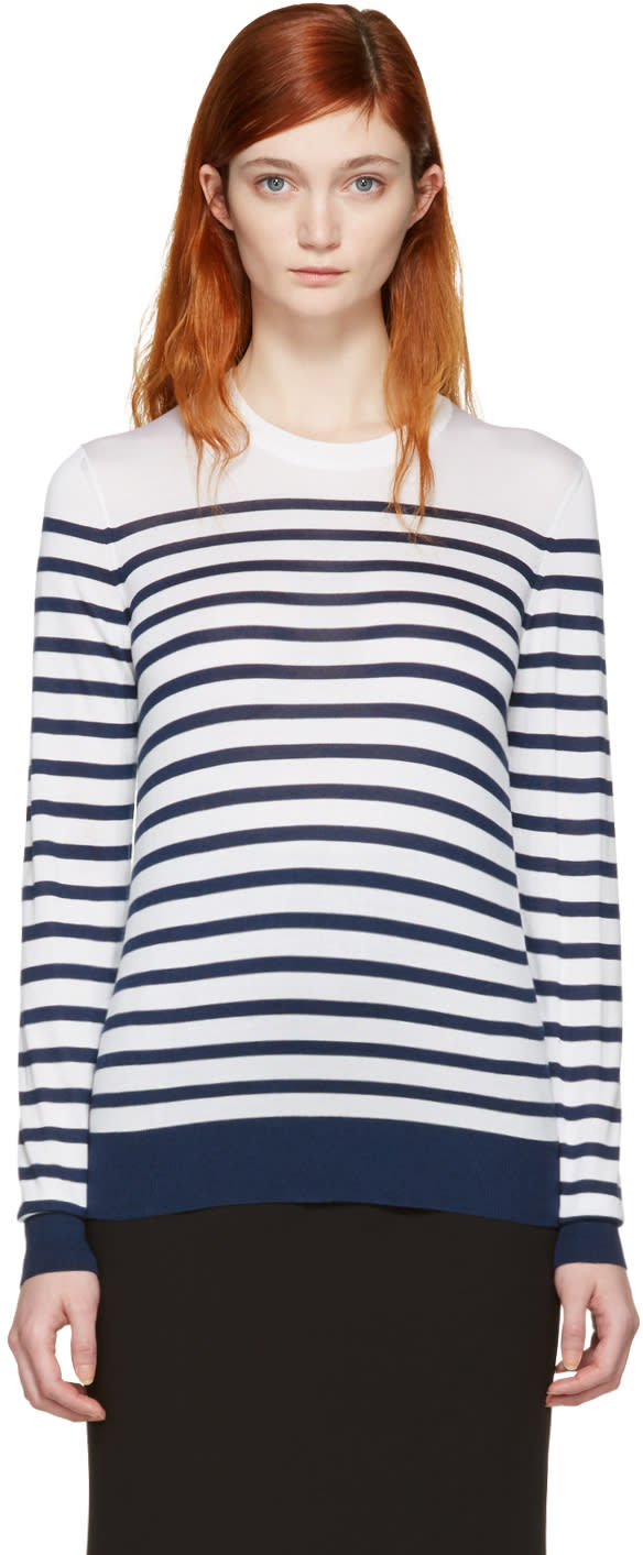 Dolce and Gabbana White Silk Striped Pullover