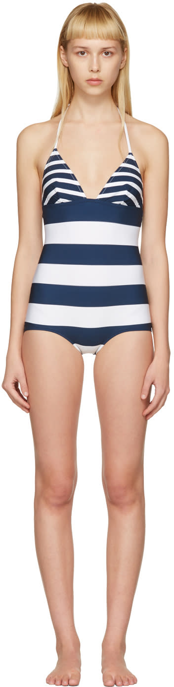 Dolce and Gabbana White and Navy Striped Triangle Swimsuit
