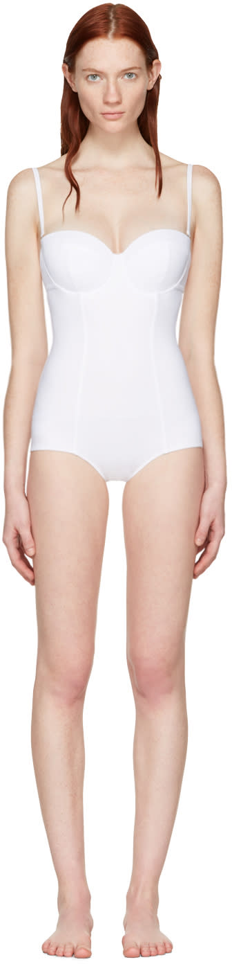 Dolce and Gabbana White Wired One-piece Swimsuit
