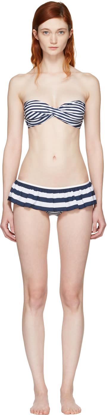 Dolce and Gabbana Blue and White Striped Flounce Bikini