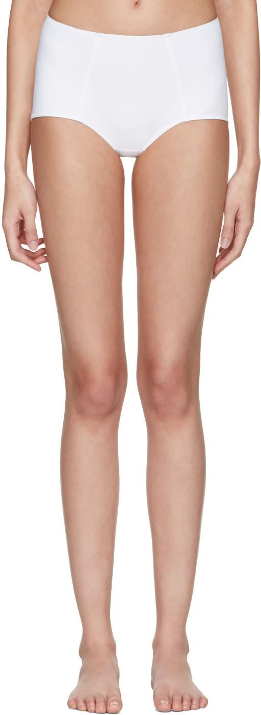 Dolce and Gabbana White High-waisted Bikini Bottoms
