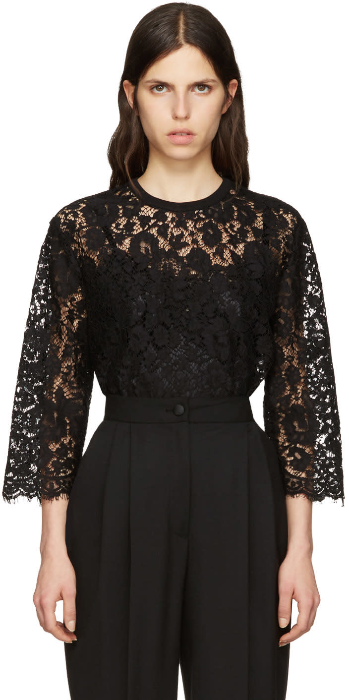 Dolce and Gabbana Black Macrame Lace Top