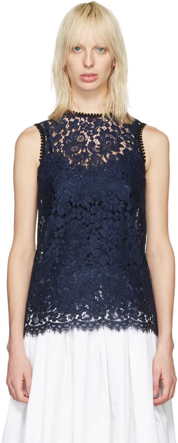 Dolce and Gabbana Navy Lace Tank Top