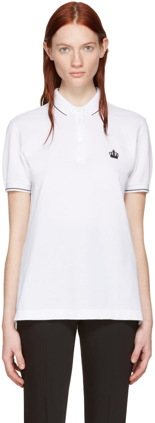 Dolce and Gabbana White Crown Polo