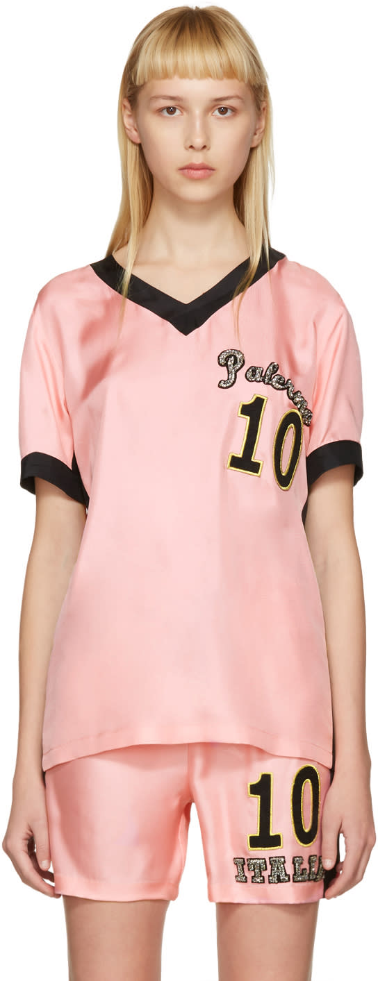 Dolce and Gabbana Pink Embroidered Pyjama T-shirt