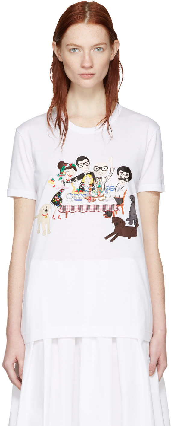 Dolce and Gabbana White Family T-shirt