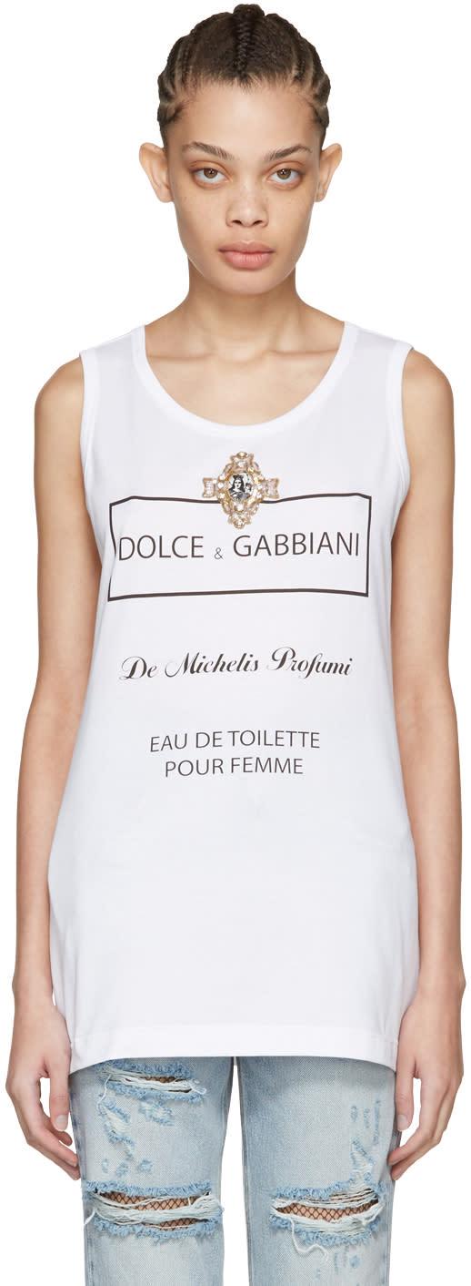 Dolce and Gabbana Whit Eau De Toilette Tank Top