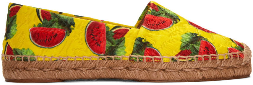 Dolce and Gabbana Yellow Watermelon Espadrilles