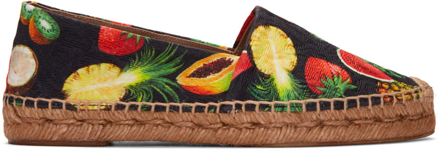 Dolce and Gabbana Black Tropical Fruit Espadrilles