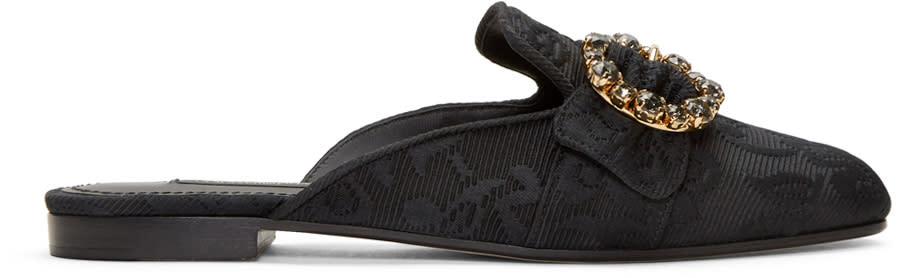 Dolce and Gabbana Black Circle Buckle Jacquard Mules