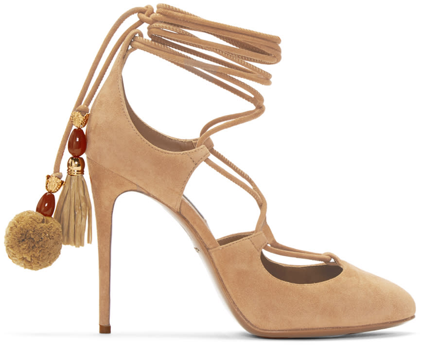 Dolce and Gabbana Tan Suede Lace-up Pumps