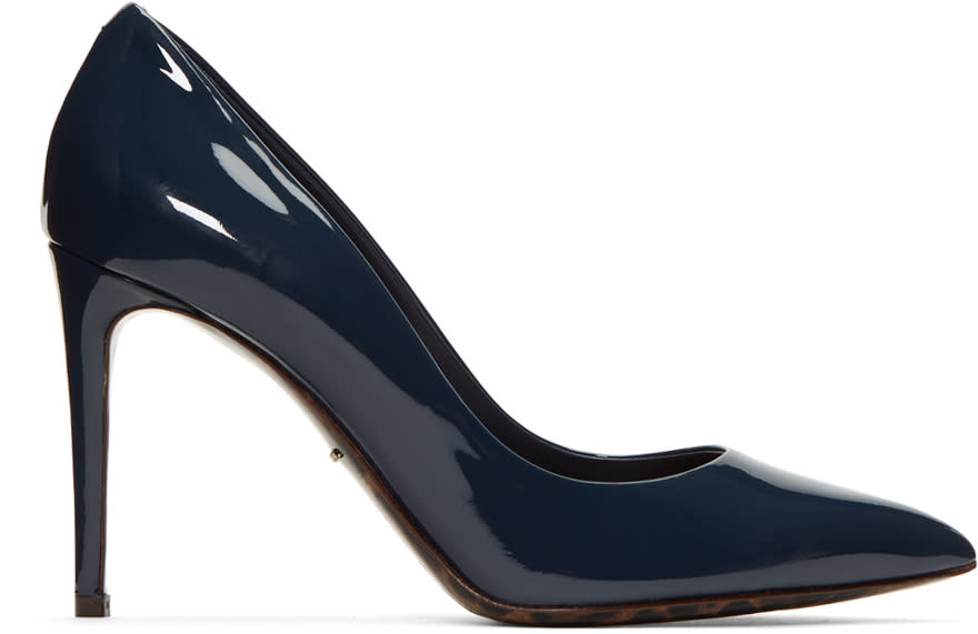 Dolce and Gabbana Navy Patent Leather Kate Heels
