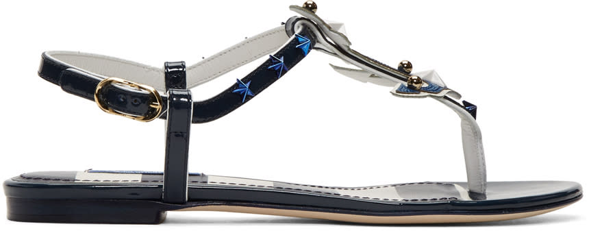 Dolce and Gabbana Navy Patent Sailor Sandals