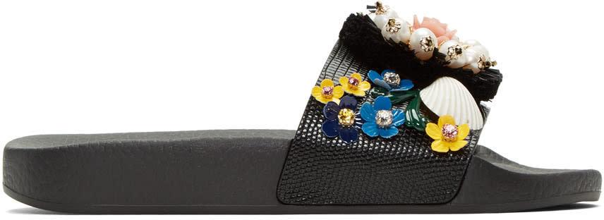 Dolce and Gabbana Black Flower Slide Sandals